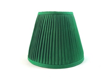 Emerald green silk pleated lampshade chandelier sconce gathered home decor lamp shade