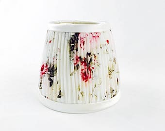 Silk floral hand pleated mini chandelier sconce lampshade gathered flowers cream pink red