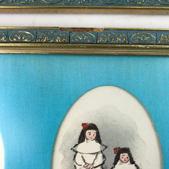 Set of two (2) vintage nursery pictures French theme Madeline nuns kids room decor child gift