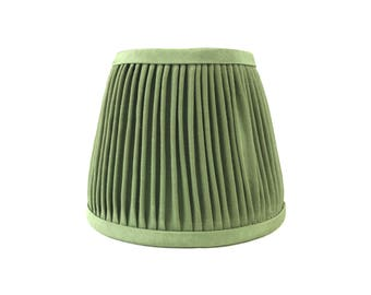 Apple green hand pleated mini lampshade sconce chandelier gathered lamp shade handmade