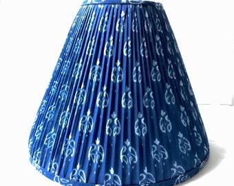 Indigo blue white block print hand made lampshade gathered scone chandelier lamp shade boho