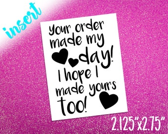 Your order made my day note card business thank you your order made my day note card business thank you packaging note package insert home business appreciation card card stock reheart Choice Image