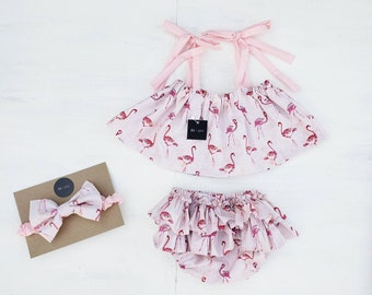 6daf09ff5 Flamingo crop top, bloomers and headband set