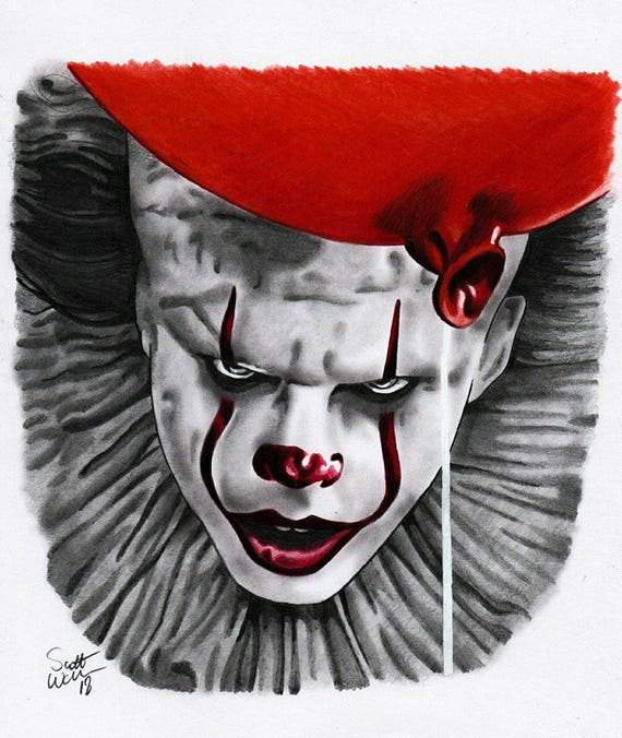 pennywise the dancing clown a4 pencil drawing print