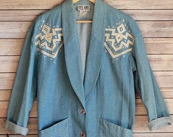 VINTAGE Southwest Denim Jacket, Glitter Jeweled Jacket, 90's denim jacket,