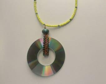 mini cd & woven copper pendant