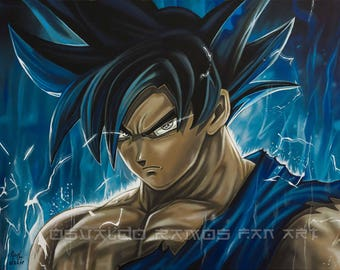 Goku portrait. Acrylic painting on canvas, 85 x 60 cm (33.5 x 24 inches) Year of creation: December 2017
