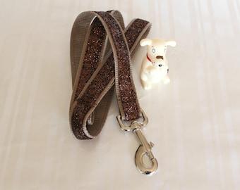 """Dog Leash, Brown Glitter Leash, 1"""" Dog Leash, Dog Lead, Pet Leash, Custom Dog Leash, Cute Pet Leash, Handmade Dog Leashes, Fabric Leash"""