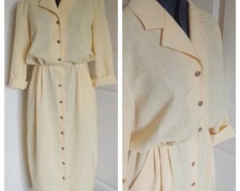 Vintage 1980s button up yellow Shirtwaist dress sz 12