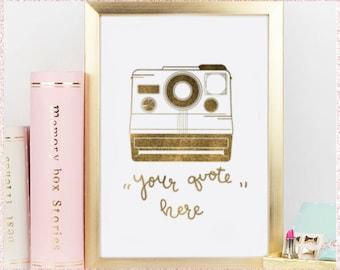 Personalized Polaroid Quote in Gold Foil Glitter  // Digital Print / Home Decor / Vintage / Camera / 8 x 10 (300dpi) //
