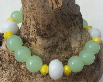 Pastel Chrysoprase Spring Beaded Bracelet Jade