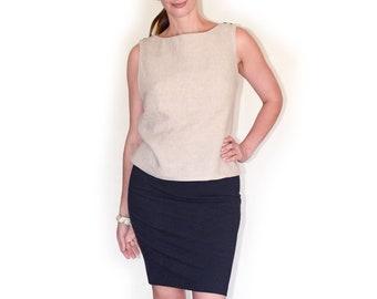 Linen breastfeeding tunic top - BEIGE