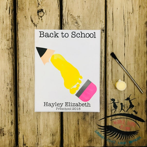 Back to School Footprint Art, Pencil Footprint Craft, Kindergarten  Footprint Craft, First Day of School Craft, Mama Don't Blink