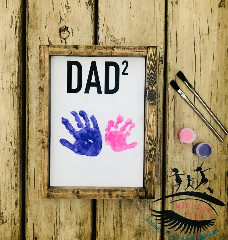 Dad Wooden Sign Fathers Day Gift Handprint Art Dad Handprint Wooden Sign