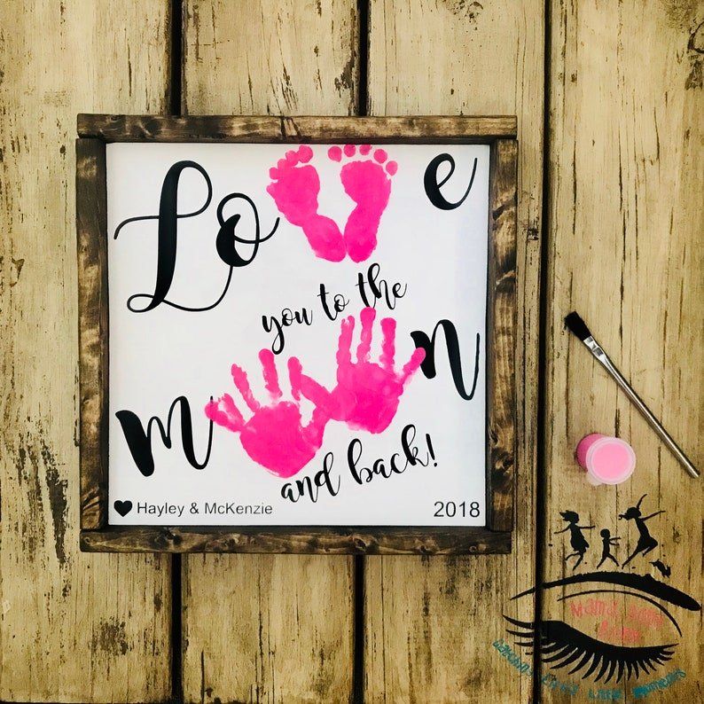 Love you to the Moon and Back Wooden Sign Handprint and image 0