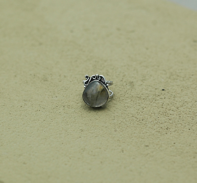 Women Statement Ring Labradorite Ring Silver Plated Ring Handmade Silver Ring Gift for her New Year/'s Gift Gemstone Silver Ring