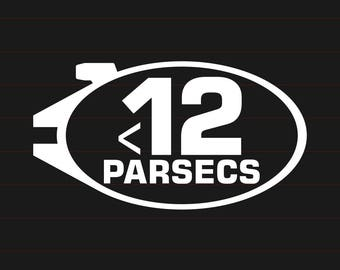 12 Parsecs Decal - Star Wars, Millenium Falcon, Oval Sticker