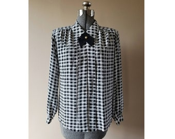 bdae0b6e013 80's Vintage Impressions of California black and white houndstooth  patterned button down blouse