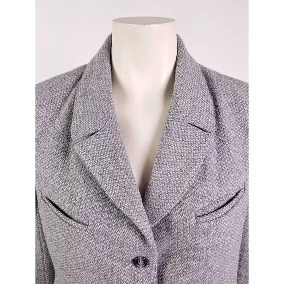 80s N'est-ce Pas grey woven wool tweed blazer jac… - image 4
