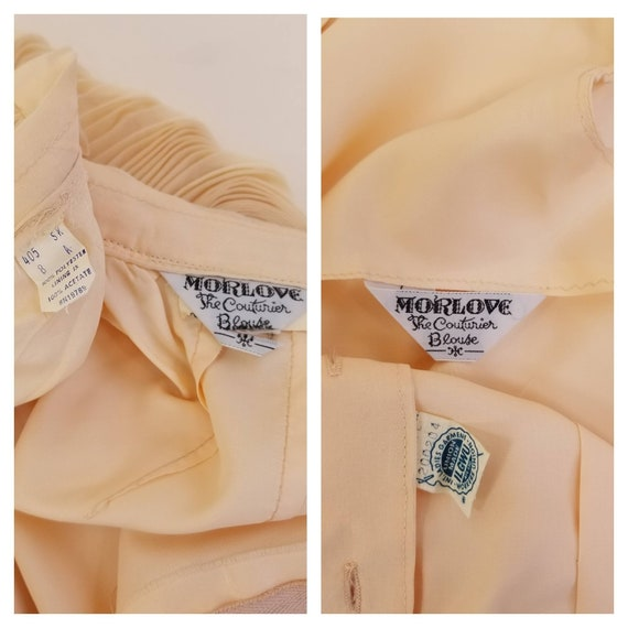 50s MORLOVE The Couturier Blouse peachy/light ora… - image 10