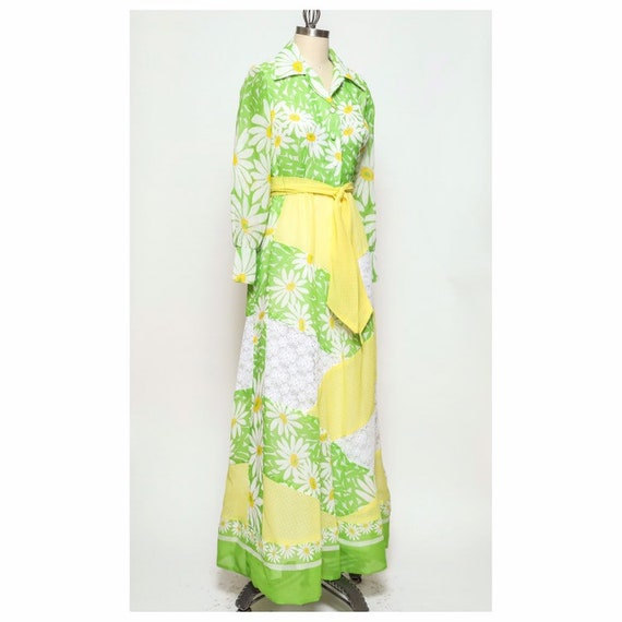 vintage late 60s/early 70d unbranded daisy yellow… - image 2