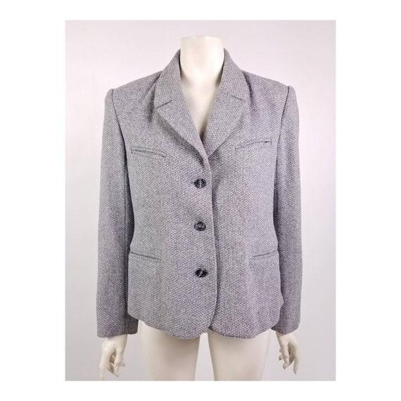 80s N'est-ce Pas grey woven wool tweed blazer jac… - image 1