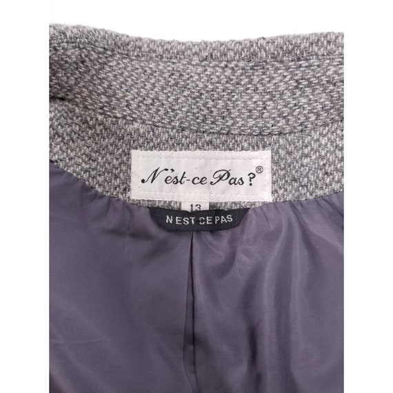 80s N'est-ce Pas grey woven wool tweed blazer jac… - image 9