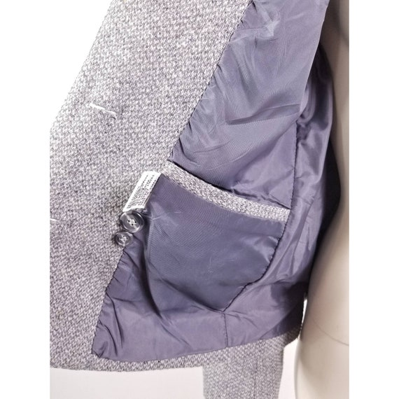 80s N'est-ce Pas grey woven wool tweed blazer jac… - image 8