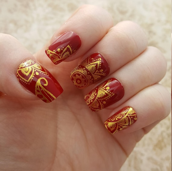Indian Wedding Nails Gold And Red Nails Henna Nails Gold Etsy