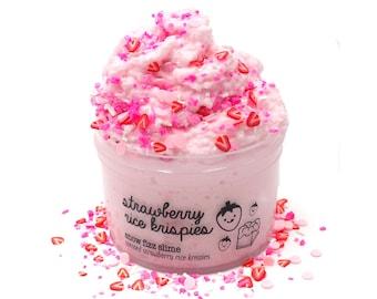 Strawberry Rice Krispies, Pink Crunchy Snow Fizz Slime, Scented Slime with Sprinkles, Cute Slime, Slime Fantasies, Slime Shops