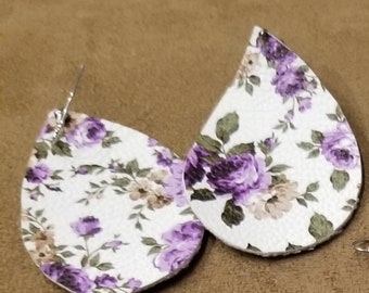 Purple floral lightweight leather earrings. Large size.