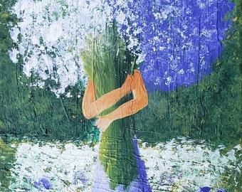 Original Tuscan landscape/European art/Girl in Lavender Field/impasto textured acrylic painting/Large canvas painting/hand painted
