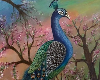 Original painting of Peacock branch- Large canvas painting/ acrylic painting/Peacock decor/ bird gifts/commissioned art