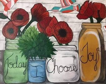 Floral botanicals birds original art//scripture art// large canvas painting//James bible verse painting//custom Christian gifts
