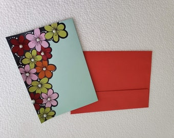 Handmade textured Flowers Greeting Card/Birthday Card/Gift card for her- All Occasions Card- original handmade acrylic painting/made in USA