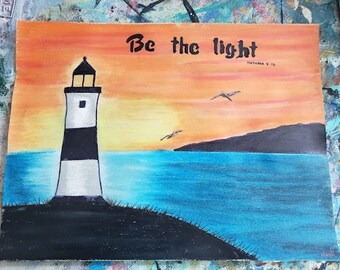 Light house Christian painting//Mathew 5:14/hand lettered typography//original scripture painting//bible verse//be the light