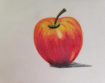 Red apple/original color pencil sketch/Hand drawn Fruit/ Food art/ready to ship/apple decor