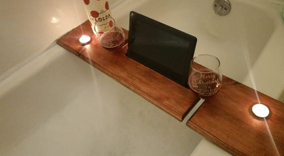 Bath Caddy Bath board for 2 Wooden Bath Tray iPad Bath | Etsy