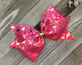 "Tropical Pineapple Flamingo Gold Foil Glitter 7"" Bow"