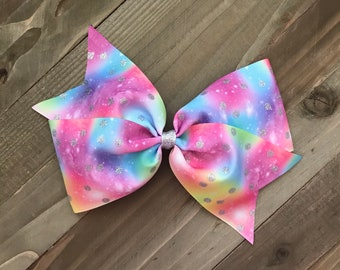 """Pastel Burst of Color Silver Glitter 7"""" Bow"""