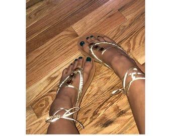 Golden godess ribon sandal