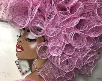 Diva Wreath for all year use Mothers Day Black History Afro American Decor