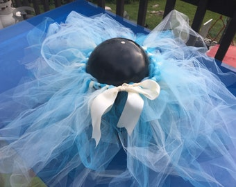 Blue and white hand tied ribbon tutu