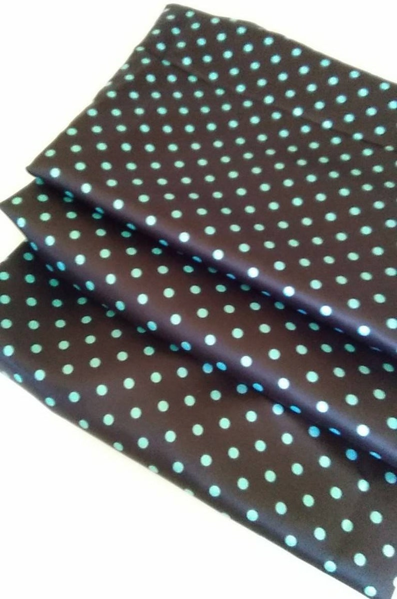 Cleaning out fabric and project stash-Satin Turquoise and brown polka dot yardage