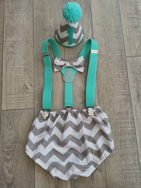 Baby Boys Cake Smash Outfit Grey  Star Fabric.handmade 1st birthday set