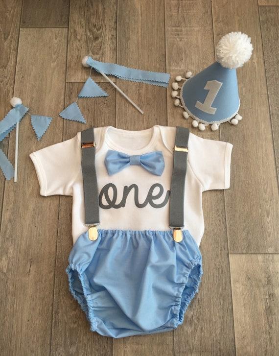 Baby Boys 1st Birthday Cake Smash Outfit Handmade.Photo Prop Blue//white Star