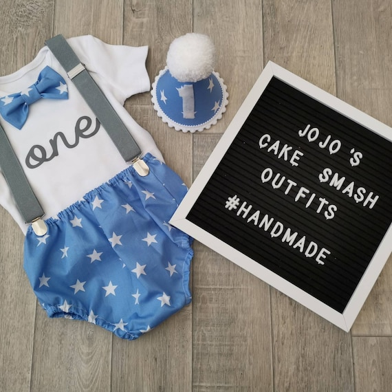 Baby Boys 1st Birthday Cake Smash Outfit// Prop.Navy Blue// White Braces.handmade.