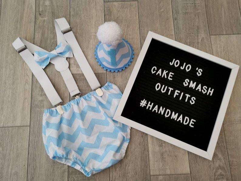 44e59bd7b Baby Boys Cake Smash Outfit. 1st birthday set. blue zig zag | Etsy