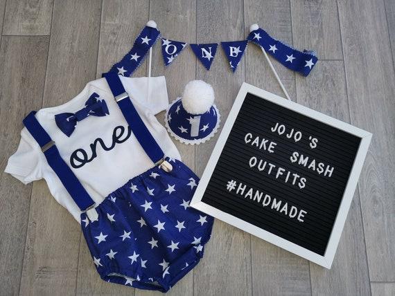 Baby Boys 1st Birthday Cake Smash Prop Blue Stars Outfit Handmade