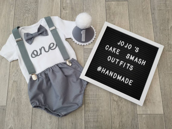 Baby Boy 1st Birthday Cake Smash Prop Outfit Handmade
